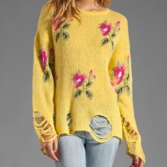 5c3de7e22d75d8 Wildfox Sweaters   White Label Edie Rose Print Sweater Nwt   Poshmark